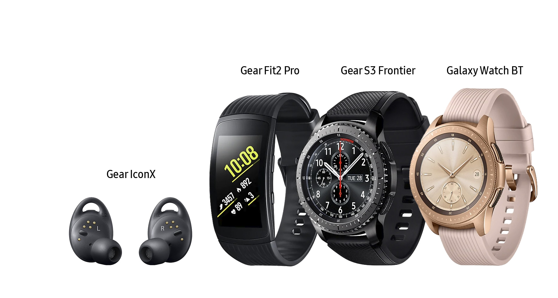 Imagem do Gear IconX, Gear Fit2 Pro, Gear S3 Frontier e Galaxy Watch BT; todos da Samsung.