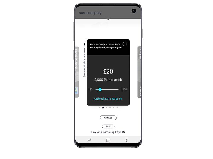 Galaxy S10e seen from the front with Samsung Pay app showing on-screen. Screen shows options to select the amount of points used towards the purchase.