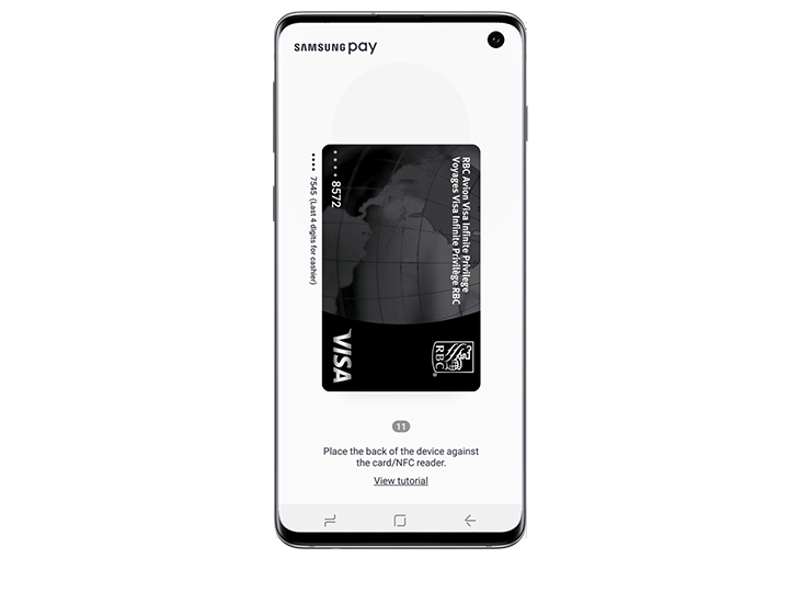 Galaxy S10e seen from the front with Samsung Pay app showing on-screen. Screen shows selected RBC VISA card.