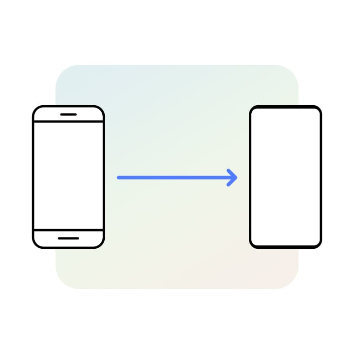 Two device icons are shown side-by-side with an arrow between them going from the left to the right device. The left Galaxy seems like an older model and the right seems like a newer model.