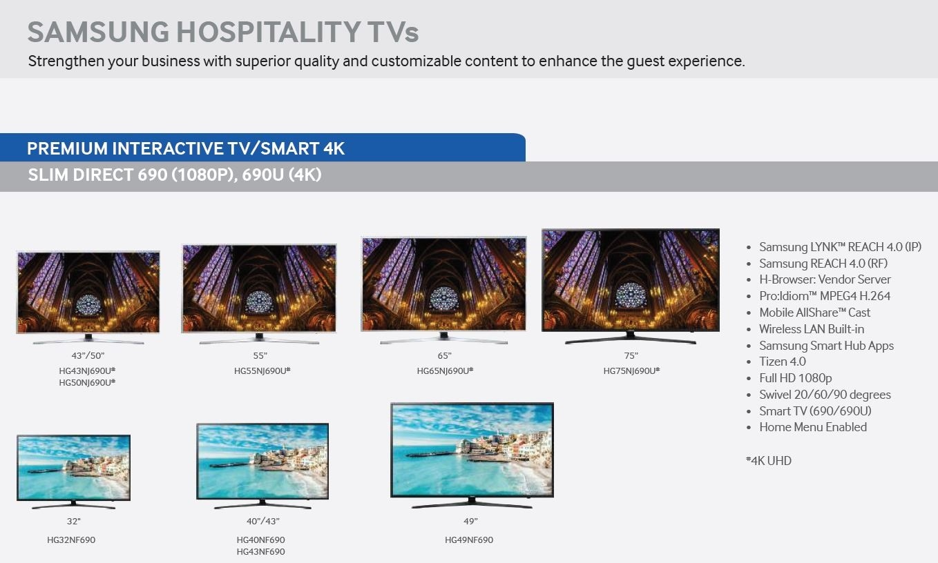 Samsung Hospitality TV Line Up