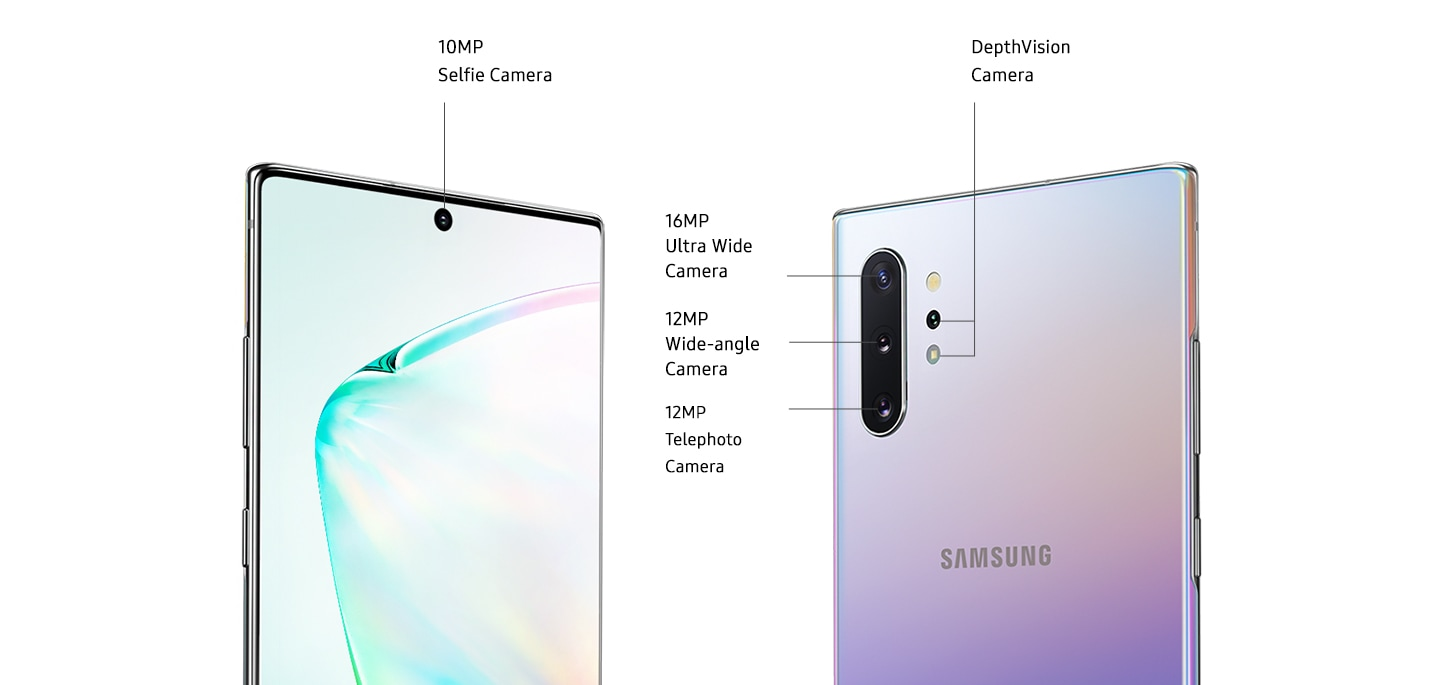 Two Galaxy Note10+ phones, one seen from the front and another seen from the rear. Galaxy Note10+ seen from the front is at a three-quarter angle from the power button side, showing the 10MP Selfie Camera. Onscreen is an abstract graphic. Galaxy Note10+ seen from the rear shows the quad camera system which includes the DepthVision Camera, 12MP Telephoto Camera, 12MP Wide-angle Camera, and 16MP Ultra Wide Camera.