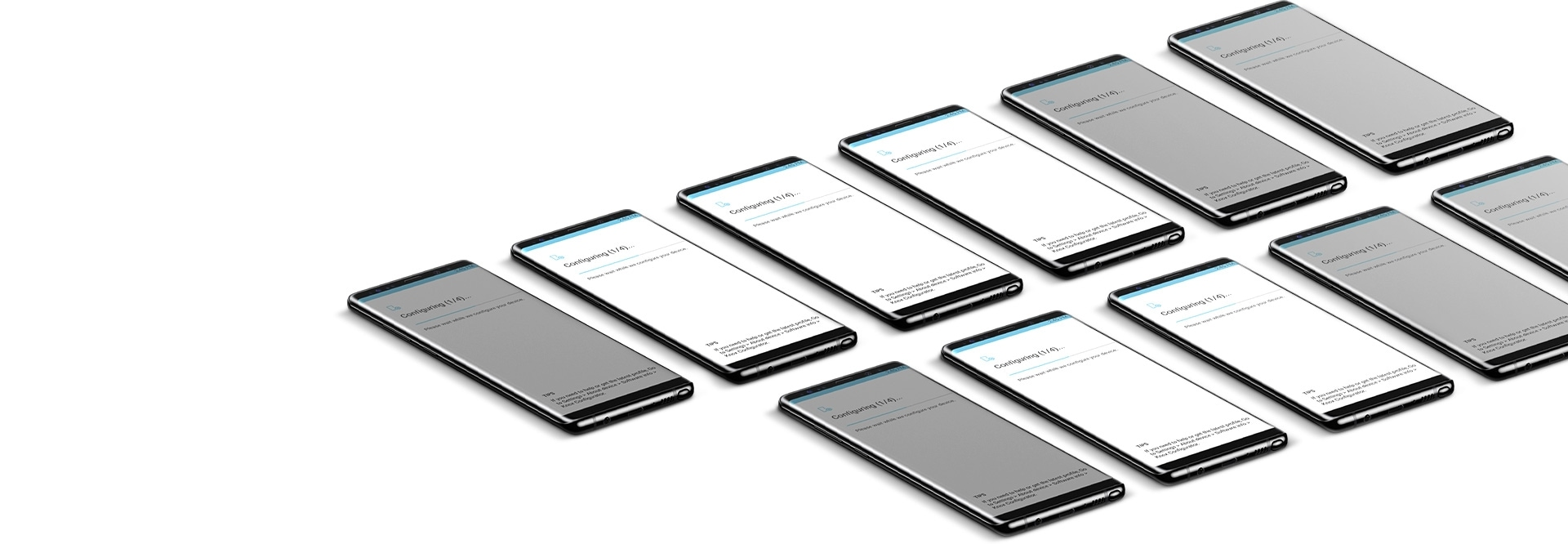 Galaxy Note8 phones showing one phone screen on and the other phones displaying the screen off