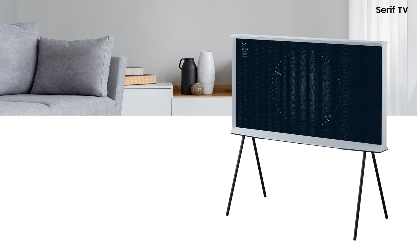 2019 Serif tv is displaying ambient mode timer with QLED display. Samsung new Serif tv with iconic design by Bourollec blends into modern home interior, and becomes an important part by extending beyond the TV itself.