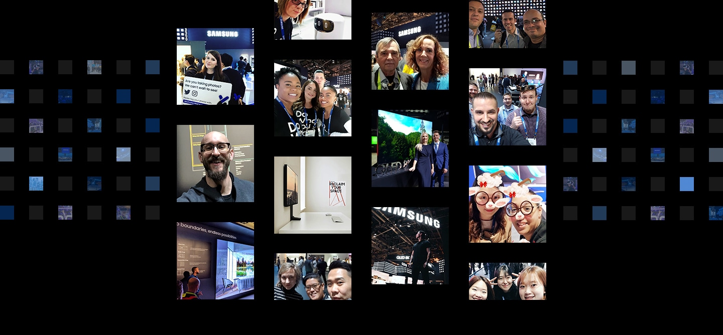 14 social media post photographs are displayed in front of a digital cube background from the 'Samsung City' theme at CES 2019.