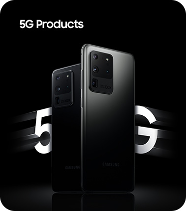 Galaxy S20 Ultra in Cosmic Black and Galaxy S20 Ultra in Cosmic Gray, both seen from the rear. On either side of the phones is text that says 5G, slightly blurred to represent HyperFast speeds. Overlaid on the image is text saying 5G Products