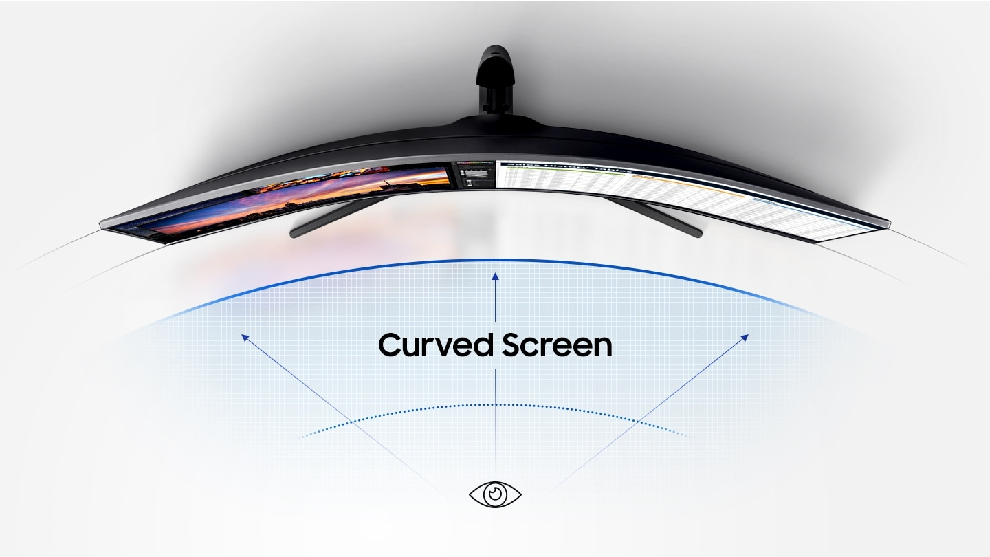As an image that describes the comfort level, you will see the image of the curved monitor you saw above and an infographic depicting it.