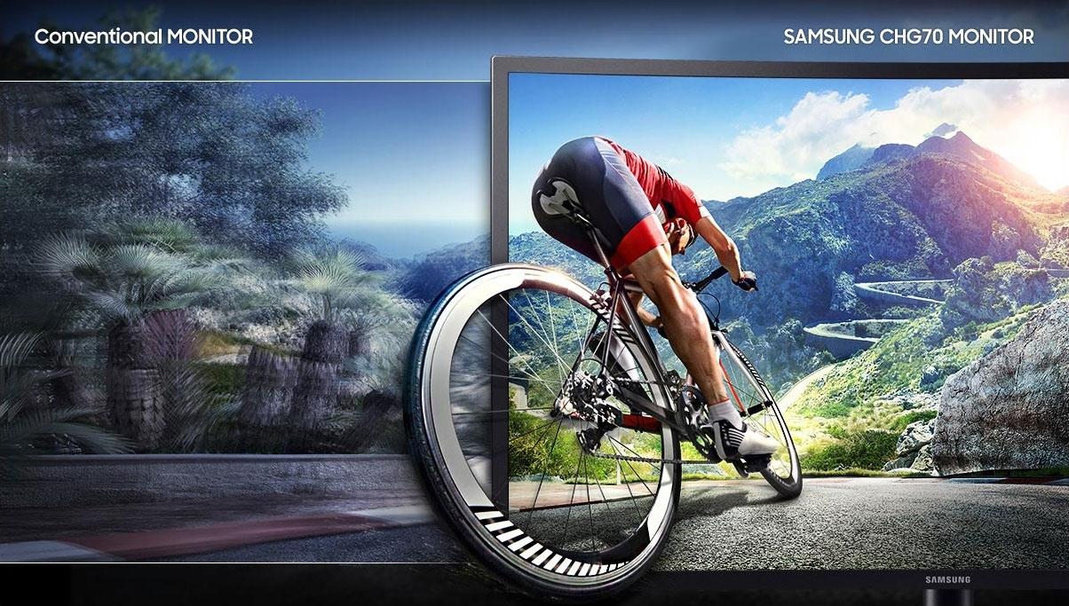 1 ms response time of Samsung monitor is displayed in comparison screen with general monitor. The corresponding time is shown using the image of the cyclist. Text notation is written as a Conventional Monitor and as a Samsung CHG 70 Monitor.
