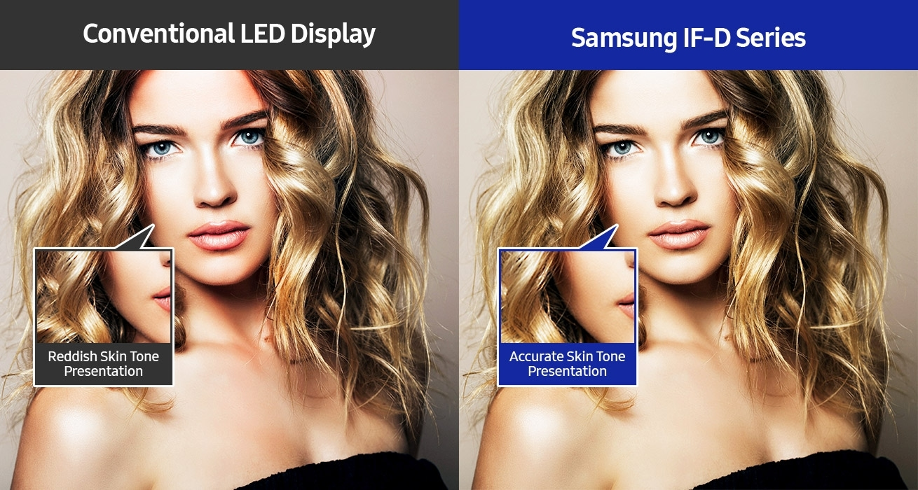 An image comparing  a conventional LED display unit with a Samsung IF-D Series display unit, both showing the same photograph of a woman. The image shows that the woman's skin tone appears reddish on the conventional LED display unit, but is accuate on the Samsung IF-D Series display unit.