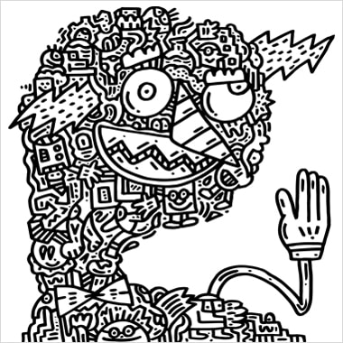 A black and white illustration by Mr. Doodle that resembles a person with a hand