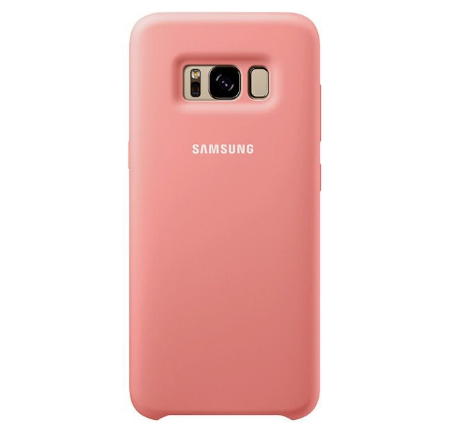 Silicone cover in pink on the Galaxy S8 .