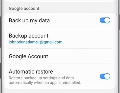 Back up and restore using Google