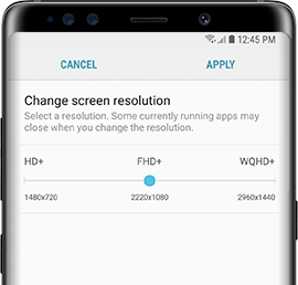 Galaxy S9 - How do I change the screen resolution on my Samsung Galaxy S9 (SM-G960W)?