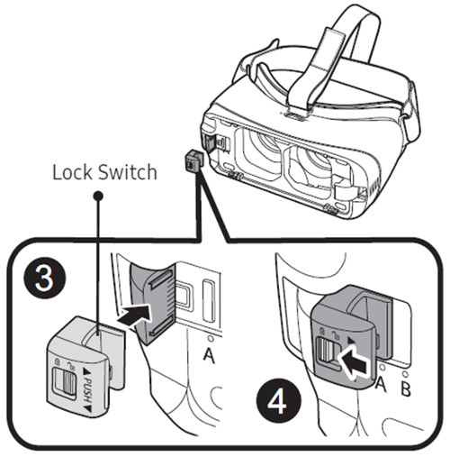 Gear VR - How do I switch the device holder on my Gear VR with controller (SM-R325)?