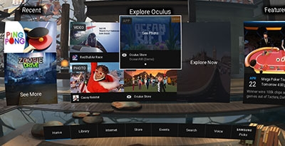 Gear VR - How do I use the Oculus Home's menu on my Gear VR