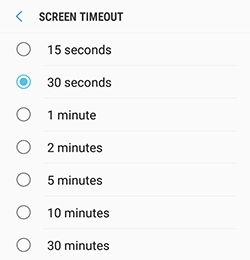 How do I adjust the screen timeout on my Samsung Galaxy J3 Prime (SM-J327W)?