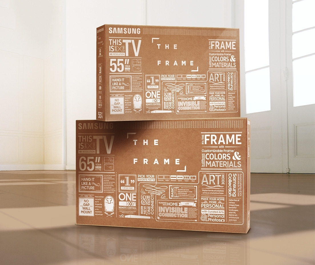 Boxes for The Frame are stacked up against each other in the middle of a room.