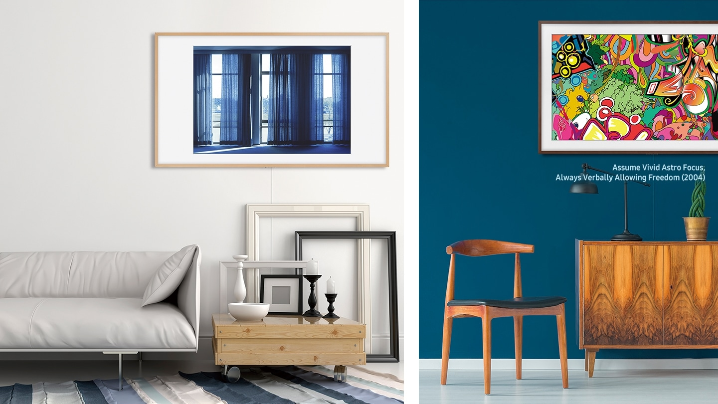 Split images of two different rooms with The Frame on the wall displaying different pieces of art. On the left, there is a slim couch with low table and on the right, there is a wooden chair and a wooden table.