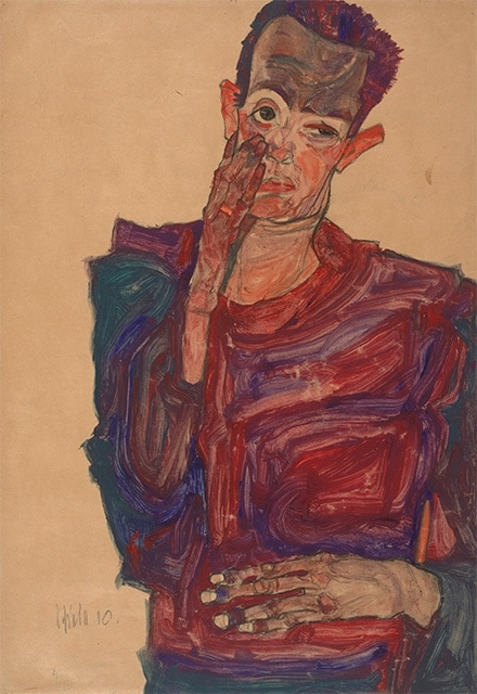 Egon Schiele Self-Portrait with Eyelid Pulled Down (1910)