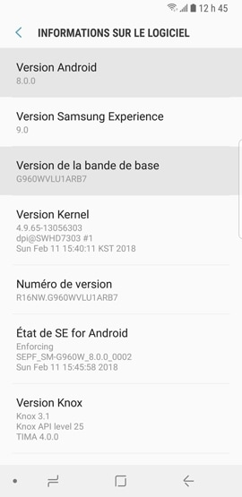 Galaxy S9+ : Version de la plate-forme Android (SM-G965W)