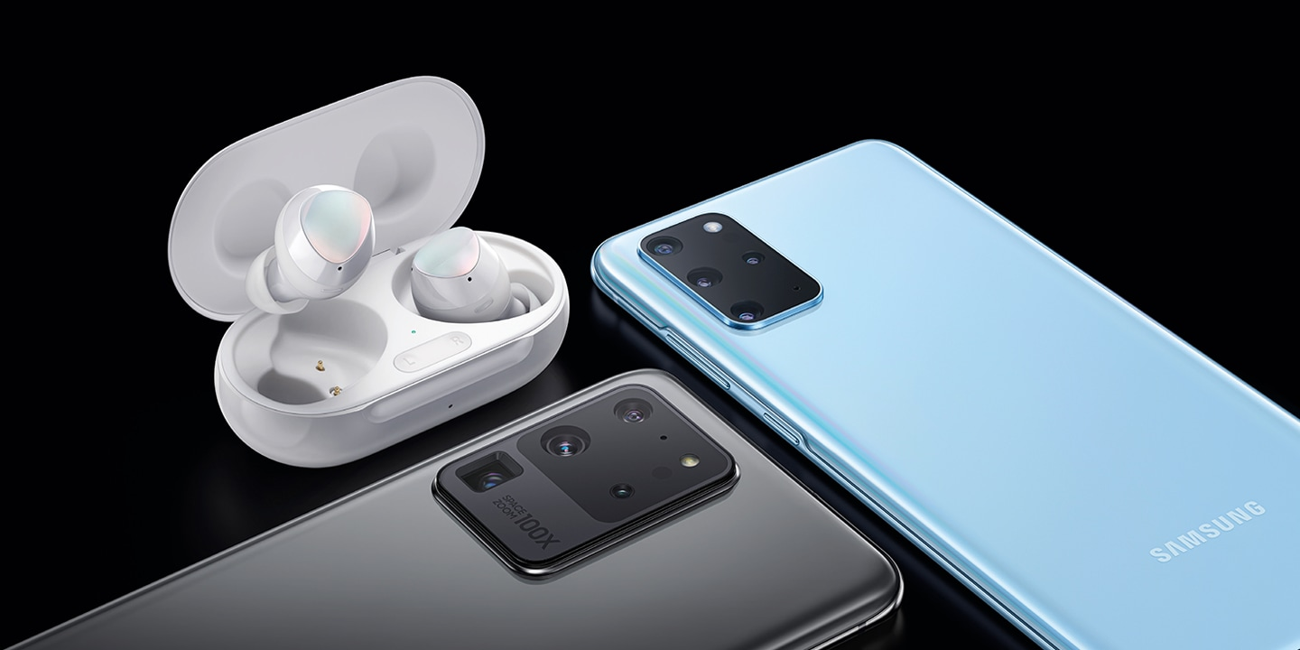 Illustration des Galaxy S20 plus, S20 Ultra 5G et Galaxy Buds plus