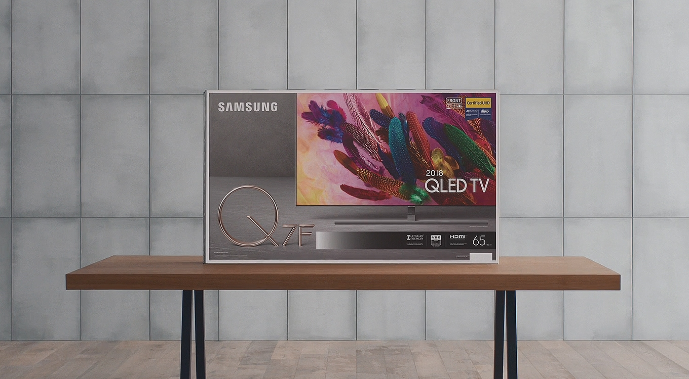 A scenery of a sunset beach is shown in rich colors along with Samsung QLED TV