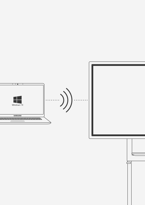 An image showing how a Samsung Flip device and a notebook equipped with Windows 10 are connected without wires.