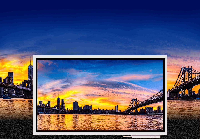 Una imagen que muestra una puesta de sol en la ciudad que se muestra en un dispositivo Samsung Flip