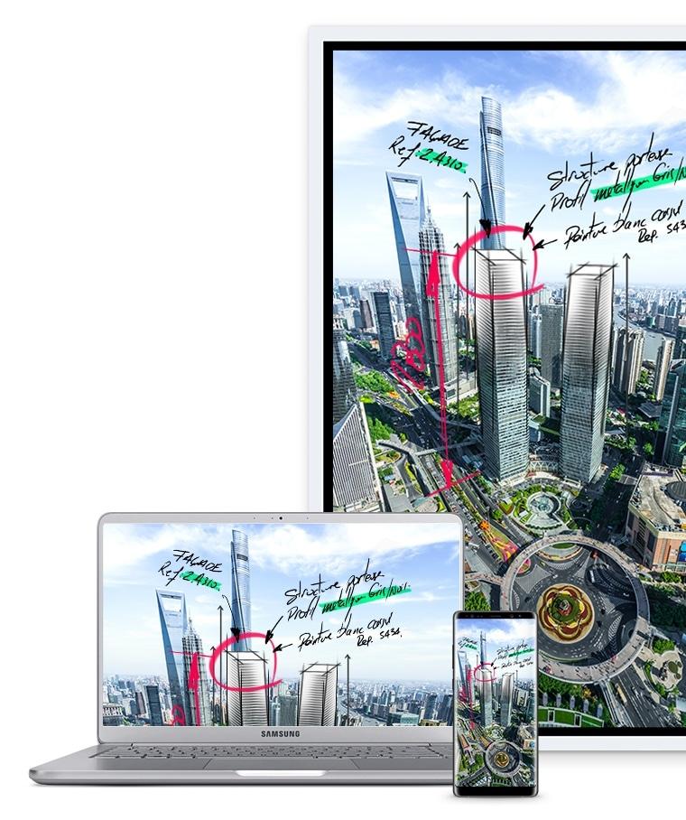 Una imagen que muestra un dispositivo Samsung Flip, un portátil y un teléfono inteligente conectado, todos mostrando las mismas imágenes en sus pantallas.