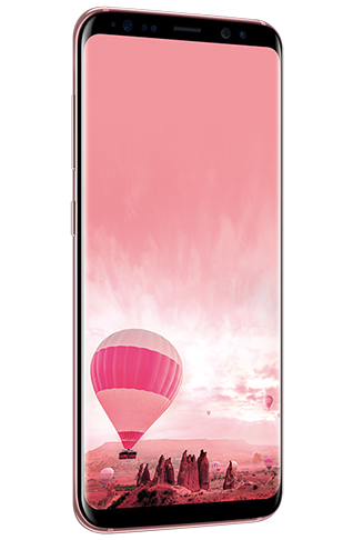 Angled left view of Galaxy S8 in Rose Pink