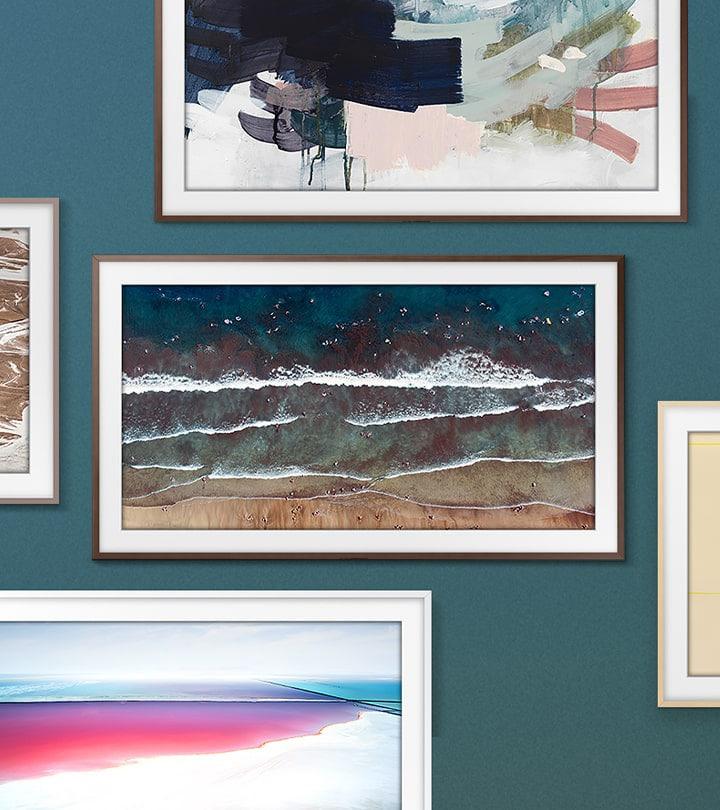 2020款畫境電視安裝在墻上,四周包圍著裱在不同顏色框架中的繪畫作品,以展示畫境電視的可定制邊框,讓您選擇契合您室內裝修風格的款式。