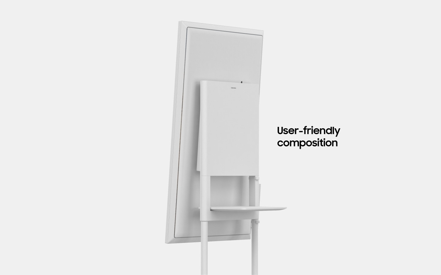 "An image showing a Samsung Flip device slightly rotating towards the right with text that reads ""User-friendly composition""(6-5)"