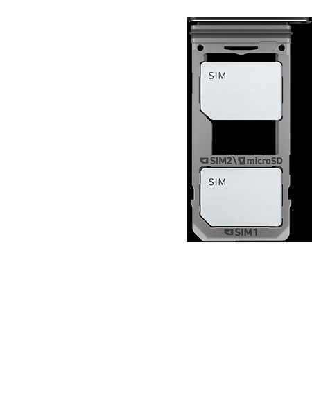 Image of the dual SIM tray with two SIM cards inserted