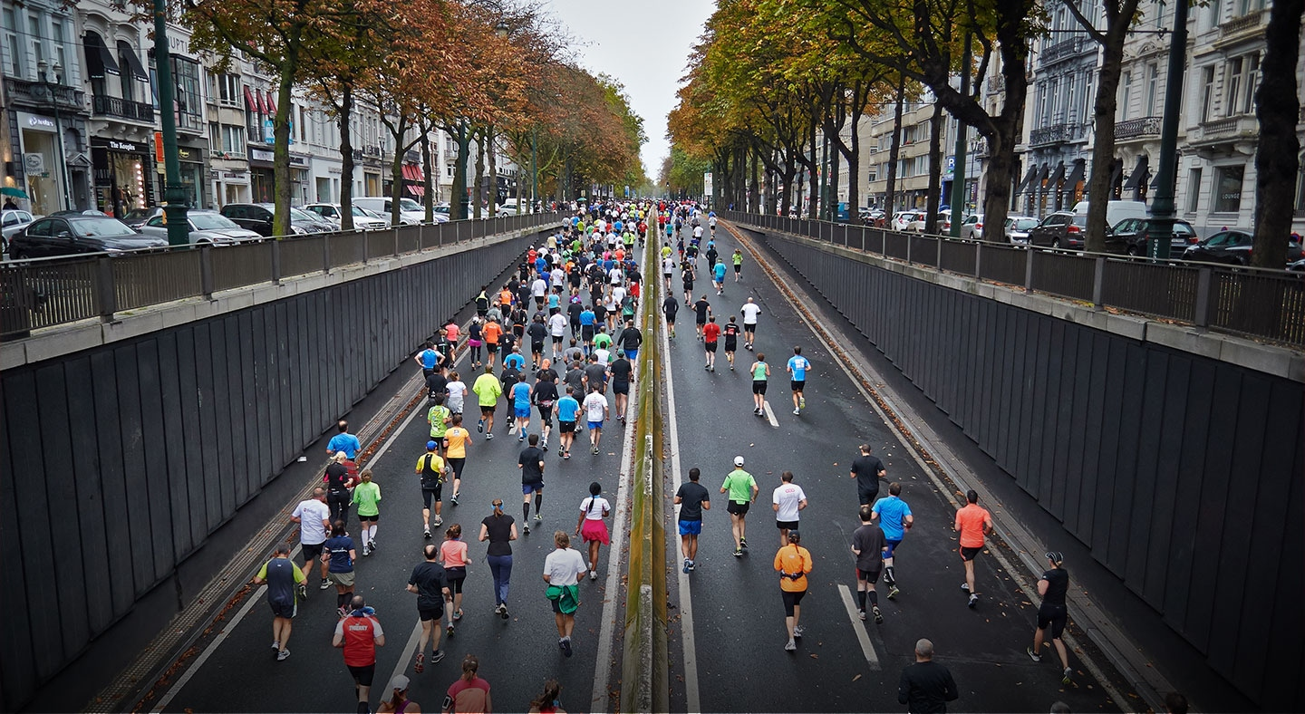 Photo of runners taking part in a city race
