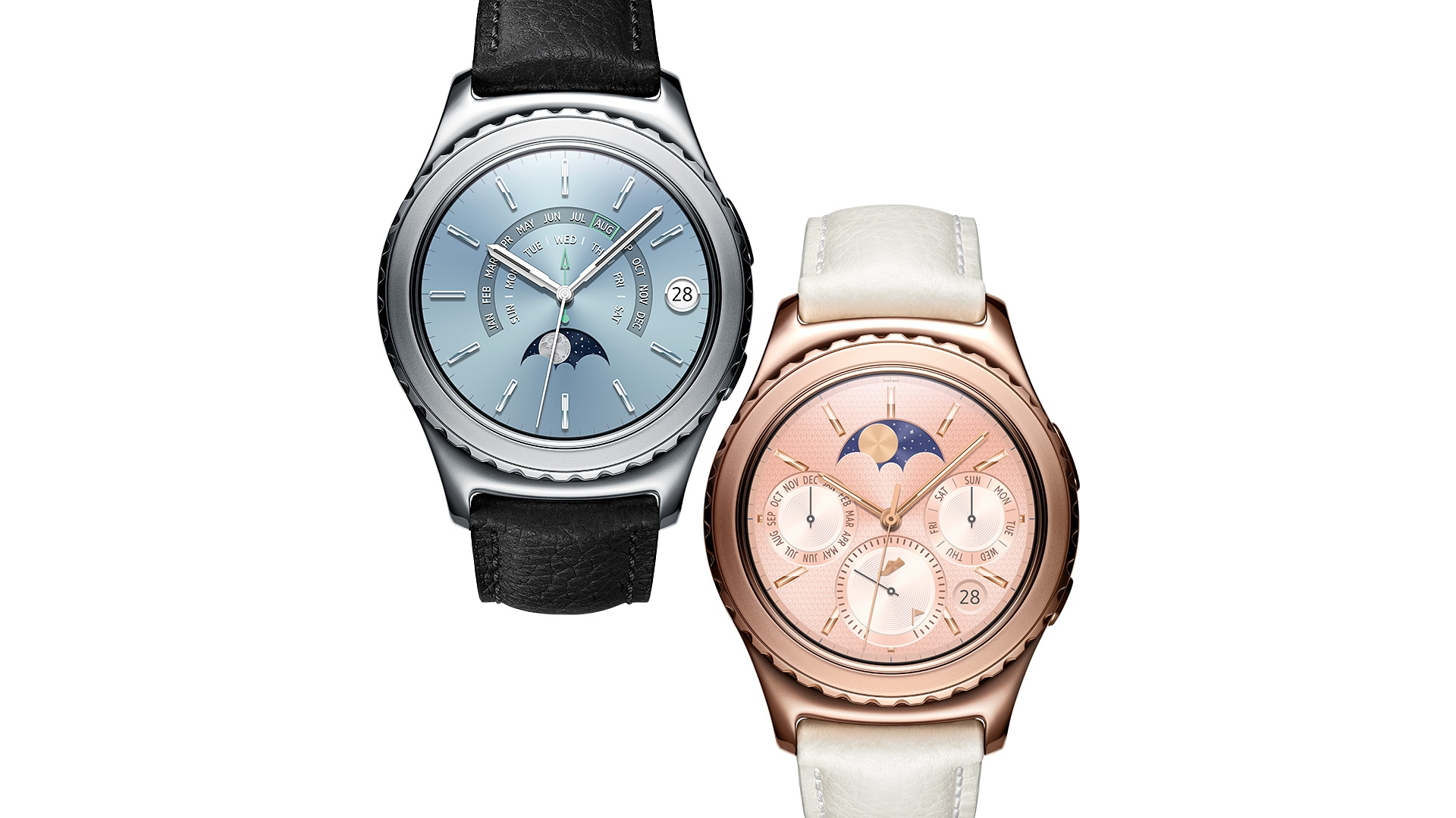 Platinum Gear S2 classic and rose gold gear s2 classic side by side