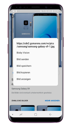 Bixby Vision des Galaxy S9 plus, Internet