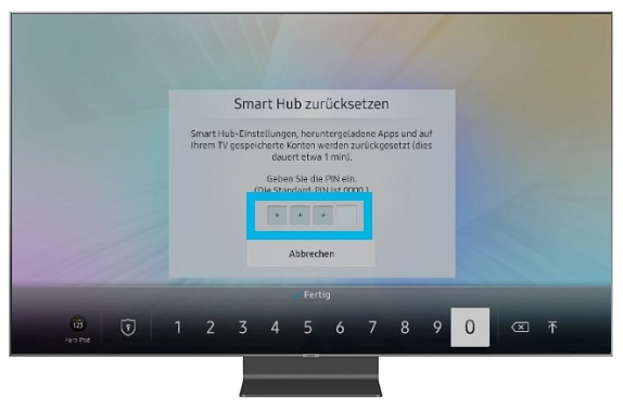 Smart TV Pin Eingabe