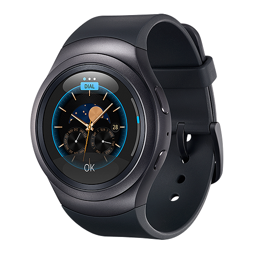 An image showing the Gear 2 with a classic watch face.