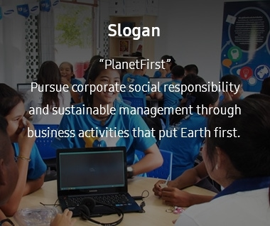 "This image containce the slogan of the eco-management. The slogan is ""PlanetFirst,"" which implies ""Pursue corporate social responsibility and sustainable management through business activities that put Earth first."""