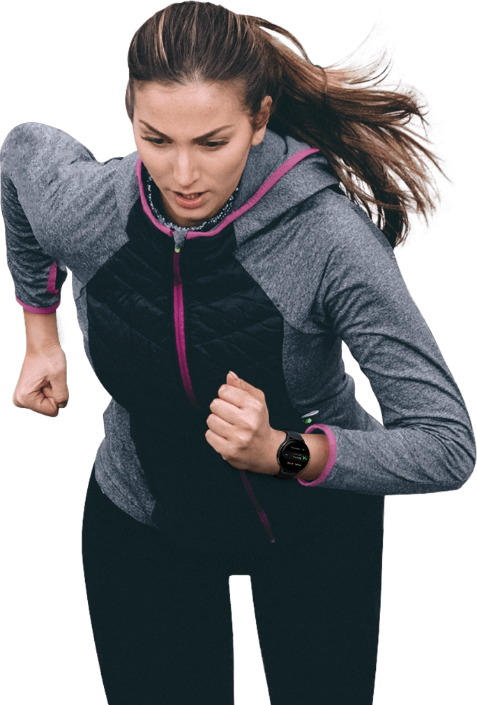 A woman in a training suit on a run with a black Galaxy Watch Active2 on her wrist, while automatic tracking displayed on the watch GUI shows her calories used, running time, and number of activities.