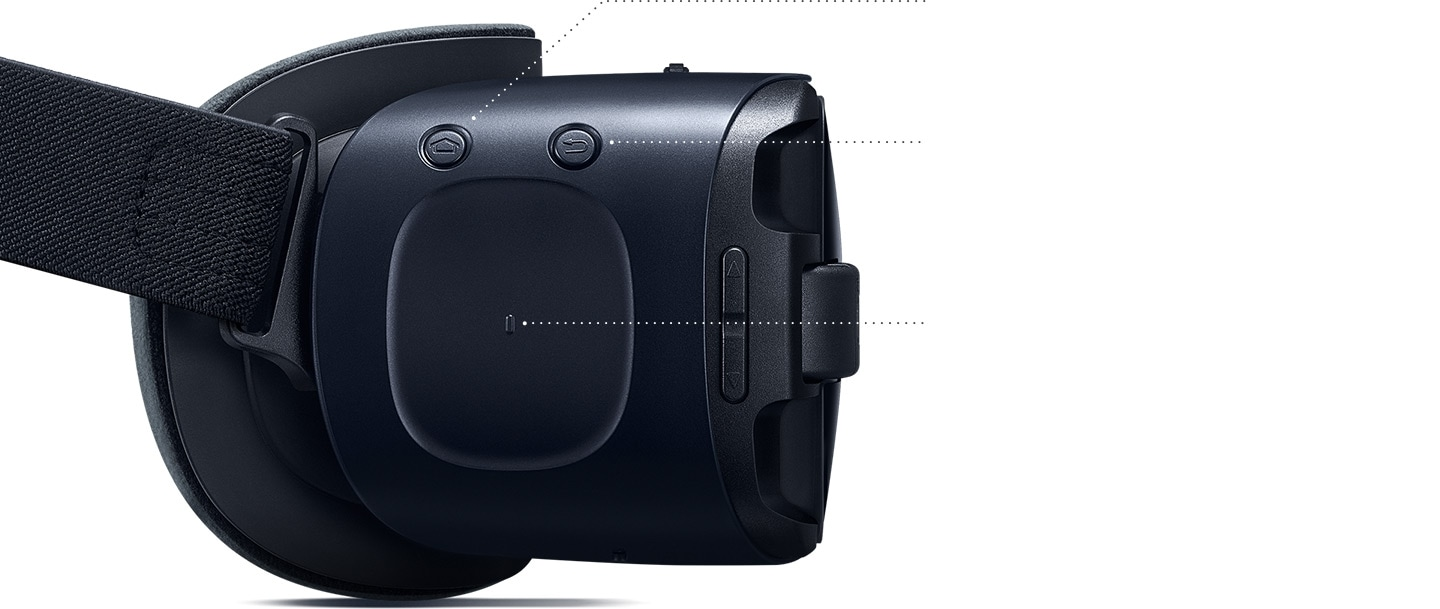 Gear VR seen from the left showing the home key, back key and touch pad