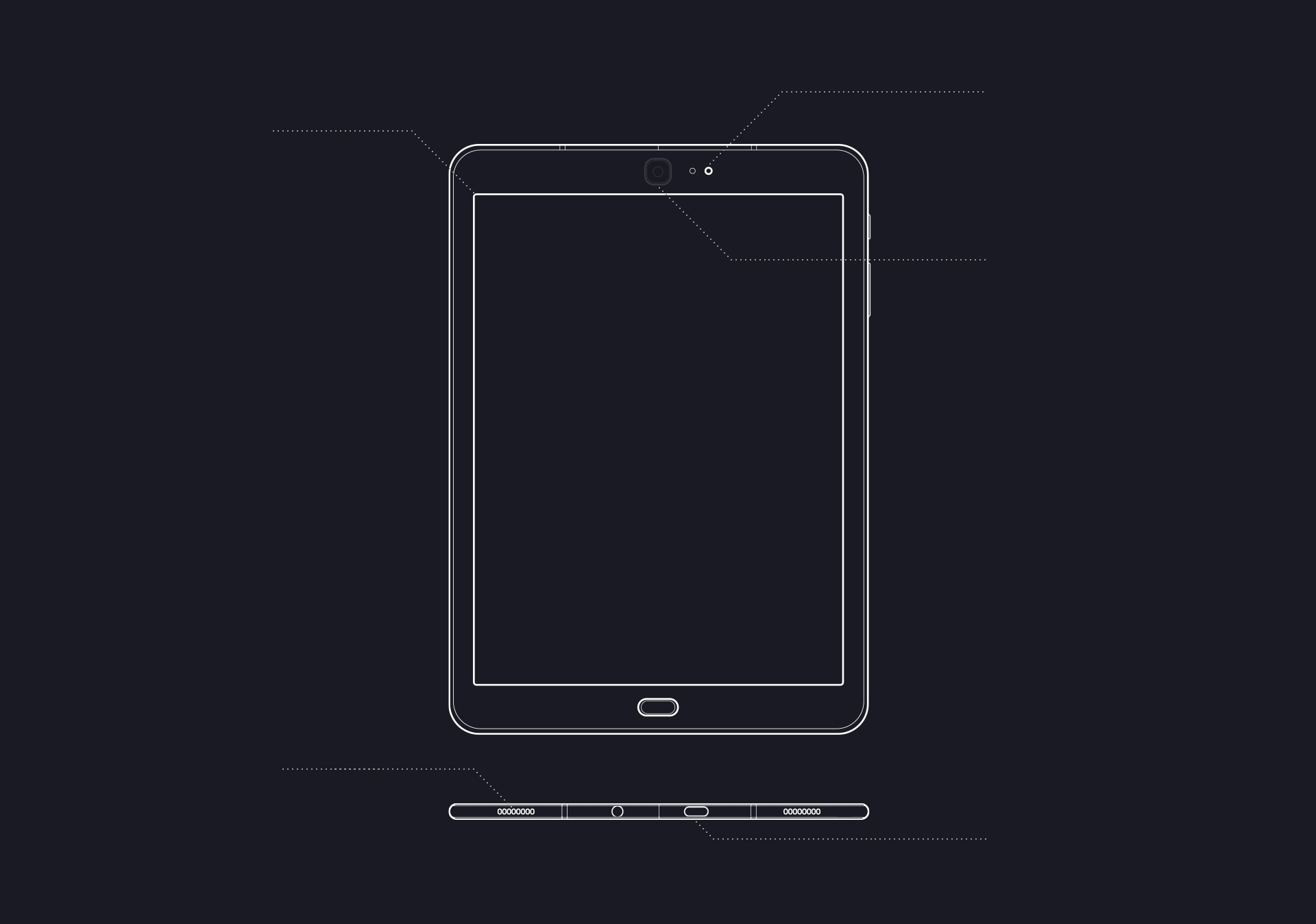 Illustration of front view of Galaxy Tab S3 and Illustration of bottom view of Galaxy Tab S3