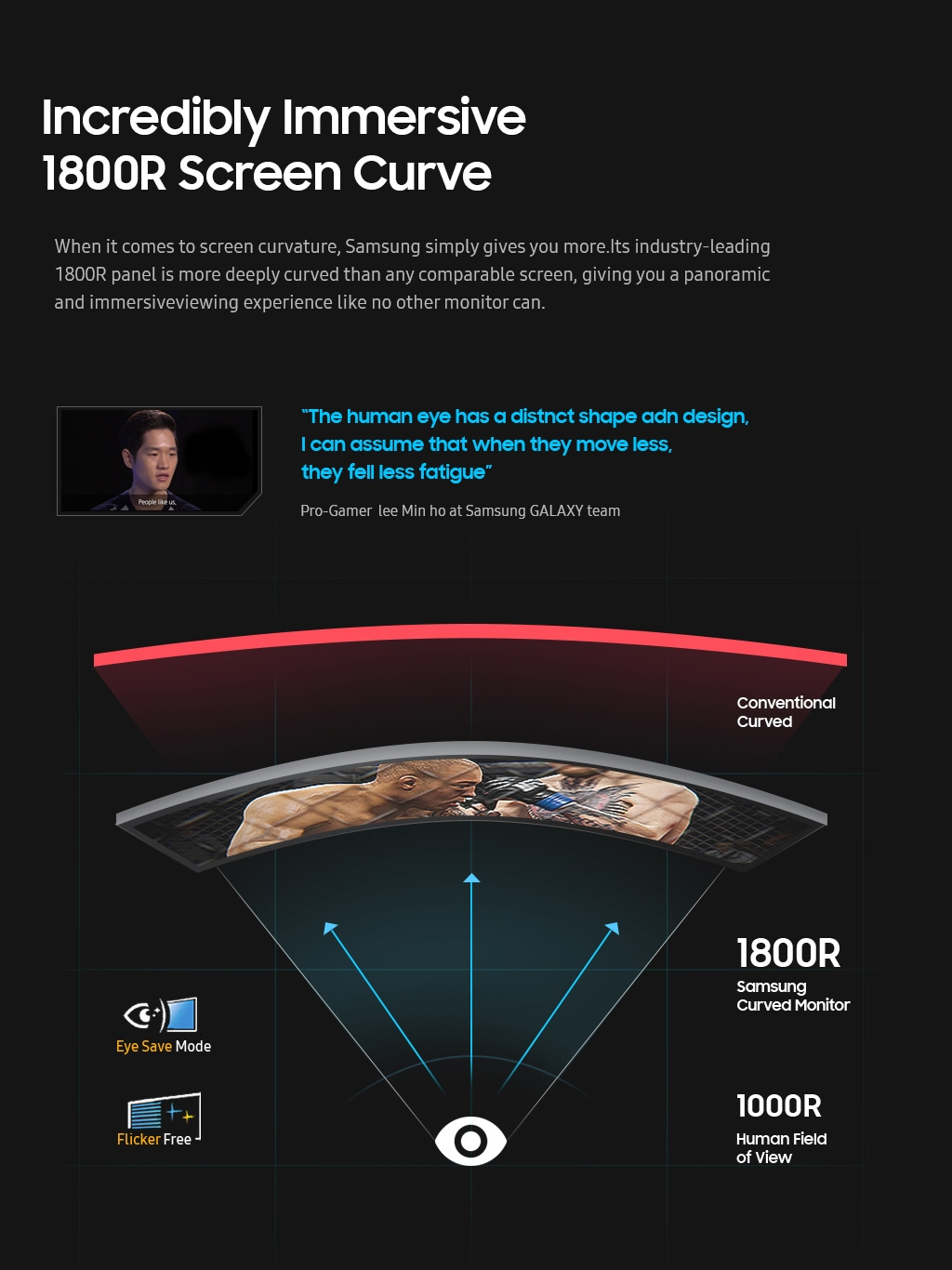 Incredibly immersive 1800R screen curve