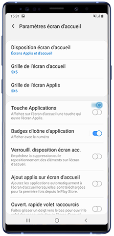 Faites glisser le bouton Touche applications