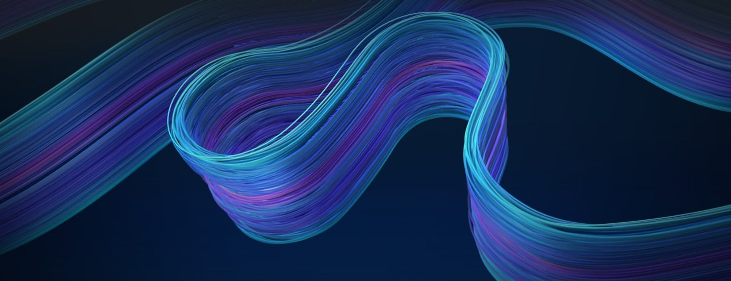 An abstract image of automated network services expressed by flexible blue curves.