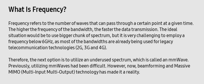 What Is Frequency? Frequency refers to the number of waves that can pass through a certain point at a given time. The higher the frequency of the bandwidth, the faster the data transmission.