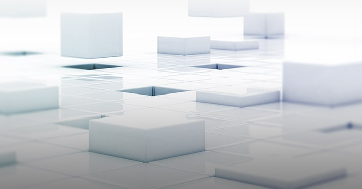 An illustrative image of white container boxes in a virtual space.