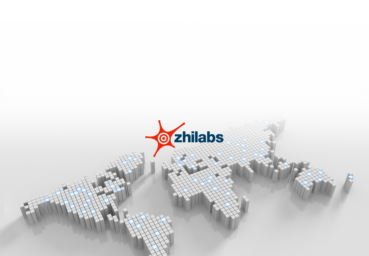 An illustrative image of Zhilabs logo over world map to show the company's global business presence.