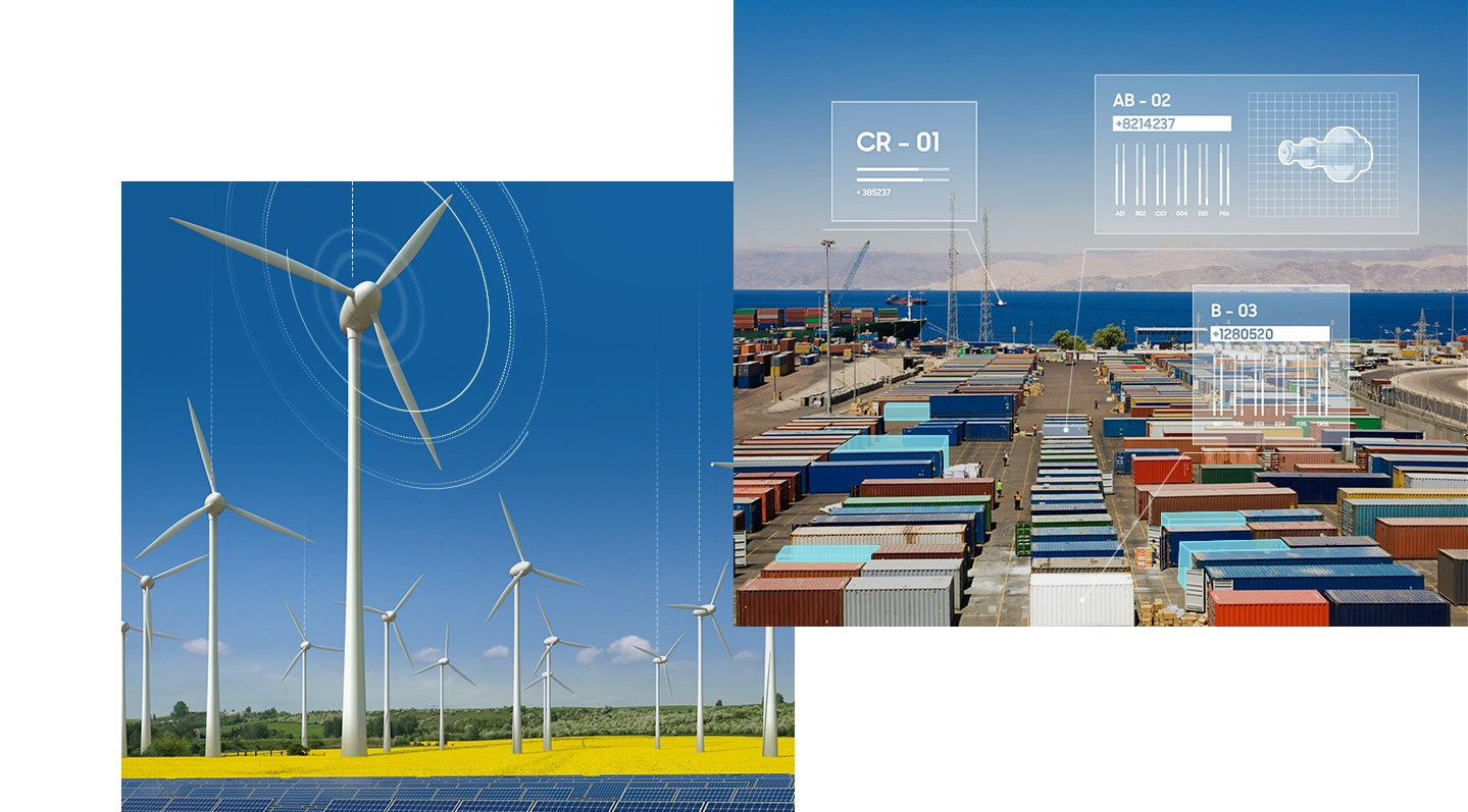 An illustrative image of wind power plant managed with private networks.