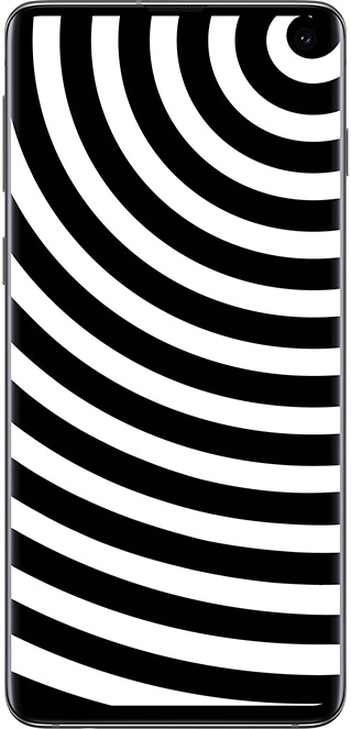 A smartphone with a spiral pattern as its wallpaper. The image is cropped so that the center aligns with the camera lens in the top-right corner.